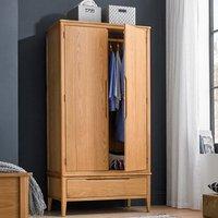 Harriet Double Door Wardrobe In Robust Solid Oak With 1 Drawer