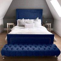 Harrington Plush Velvet Upholstered Single Bed In Blue