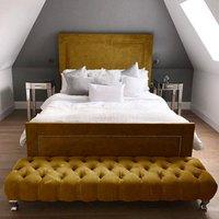 Harrington Plush Velvet Upholstered Single Bed In Mustard