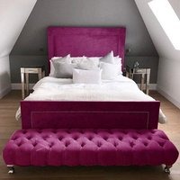 Harrington Plush Velvet Upholstered Single Bed In Pink