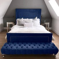 Product photograph showing Harrington Plush Velvet Upholstered Small Double Bed In Blue