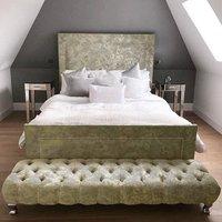 Product photograph showing Harrington Plush Velvet Upholstered Super King Size Bed In Cream
