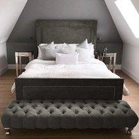 Harrington Plush Velvet Upholstered Single Bed In Steel