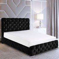 Harrisburg Plush Velvet Single Bed In Black