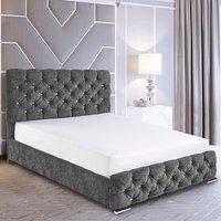 Harrisburg Plush Velvet Single Bed In Grey