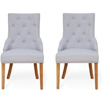 Product photograph showing Harrow Accent Grey Fabric Dining Chairs In Pair With Oak Legs