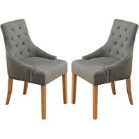 Product photograph showing Harrow Accent Slate Fabric Dining Chairs In Pair With Oak Legs