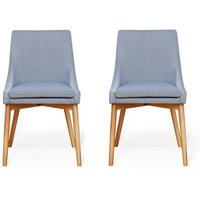 Product photograph showing Harrow Grey Fabric Dining Chairs In Pair With Oak Legs