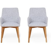Product photograph showing Harrow Light Grey Fabric Dining Chairs In Pair With Oak Legs