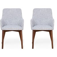 Product photograph showing Harrow Light Grey Fabric Dining Chairs In Pair With Walnut Legs