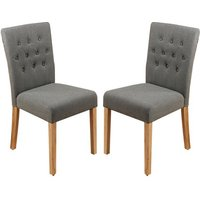 Product photograph showing Harrow Slate Fabric Dining Chairs In Pair With Walnut Legs