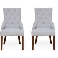 Product photograph showing Harry Grey Fabric Dining Chairs In Pair With Walnut Legs