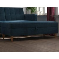 Product photograph showing Hartford Fabric Upholstered Storage Ottoman In Blue
