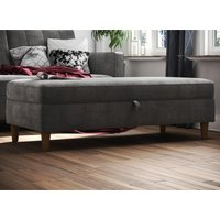 Product photograph showing Hartford Fabric Upholstered Storage Ottoman In Grey