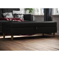 Product photograph showing Hartford Faux Leather Storage Ottoman In Black