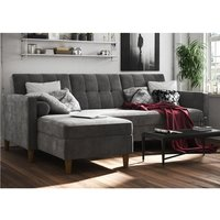 Hartford Sectional Fabric Storage Chaise Sofa Bed In Grey