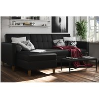 Hartford Sectional Faux Leather Storage Chaise Sofa Bed In Black