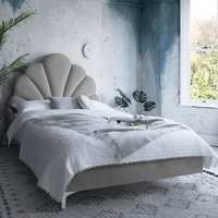 Hartington Plush Velvet Single Bed In Grey