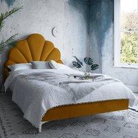 Hartington Plush Velvet Single Bed In Mustard