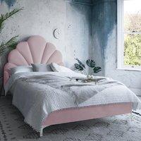 Hartington Plush Velvet Single Bed In Pink