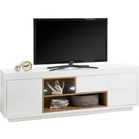 Product photograph showing Hartland Lowboard Tv Stand Wide In Matt White And Oak With Led