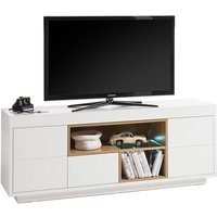Product photograph showing Hartland Lowboard Tv Stand In Matt White And Oak With Led