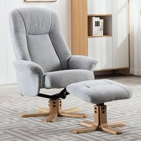 Product photograph showing Hatton Fabric Swivel Recliner Chair And Footstool In Cloud