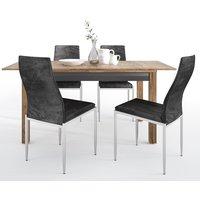 Havoka Extending Dining Table With 4 Mexa Black Leather