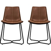 Product photograph showing Hawking Brown Leather Bistro Chair In Pair