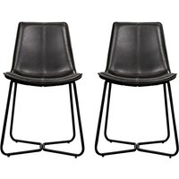 Product photograph showing Hawking Charcoal Leather Bistro Chair In Pair