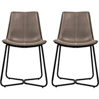 Product photograph showing Hawking Ember Leather Bistro Chair In Pair