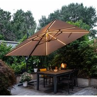 Product photograph showing Hawo Lumen Led Square Cantilever Parasol In Dark Grey