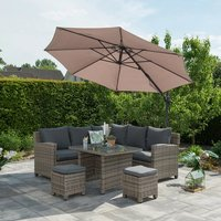 Product photograph showing Hawo Round Cantilever Parasol With Cross Base In Dark Grey