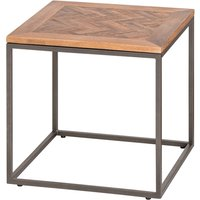 Product photograph showing Haxin Parquet Wooden Top Side Table In Brown