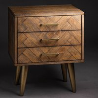Haxo Wooden Bedside Cabinet In Brown And Gold With 3 Drawers