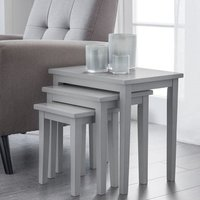 Product photograph showing Heaton Wooden Set Of 3 Nest Of Tables In Lunar Grey Lacquer