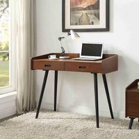 Hector Wooden Computer Desk In Walnut With 2 Drawers