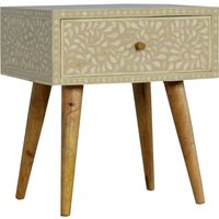 Product photograph showing Hedley Wooden Bedside Cabinet In Floral Bone Inlay And Oak Ish