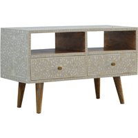 Product photograph showing Hedley Wooden Tv Stand In Floral Bone Inlay And Oak Ish