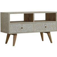 Product photograph showing Hedley Wooden Tv Stand In Light Taupe Floral Bone Inlay