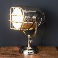 Product photograph showing Hegira Industrial Spotlight Table Lamp In Silver