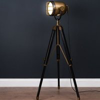 Product photograph showing Hegira Industrial Spotlight Tripod Floor Lamp In Black And Brass