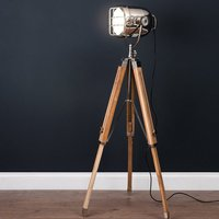 Product photograph showing Hegira Industrial Spotlight Tripod Floor Lamp In Oak And Silver