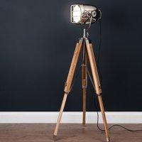 Product photograph showing Hegira Industrial Spotlight Tripod Floor Lamp In Oak And Silver