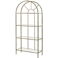Product photograph showing Heidi Glass Shelving Unit In Antique Gold Metal Frame