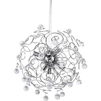 Product photograph showing Heiska Exquisite Crystal Pendant Light In Chrome