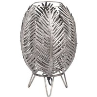Product photograph showing Helga Metal Palm Closed Leaf Table Lamp In Antique Silver