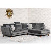 Product photograph showing Helsinki Velvet Upholstered Right Handed Corner Sofa In Grey