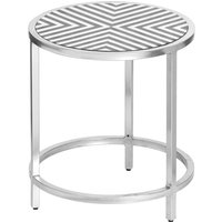 Product photograph showing Hemplon Handmade Bone Inlay Round Side Table In White And Black