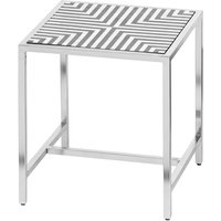 Product photograph showing Hemplon Handmade Bone Inlay Square Side Table In White Black